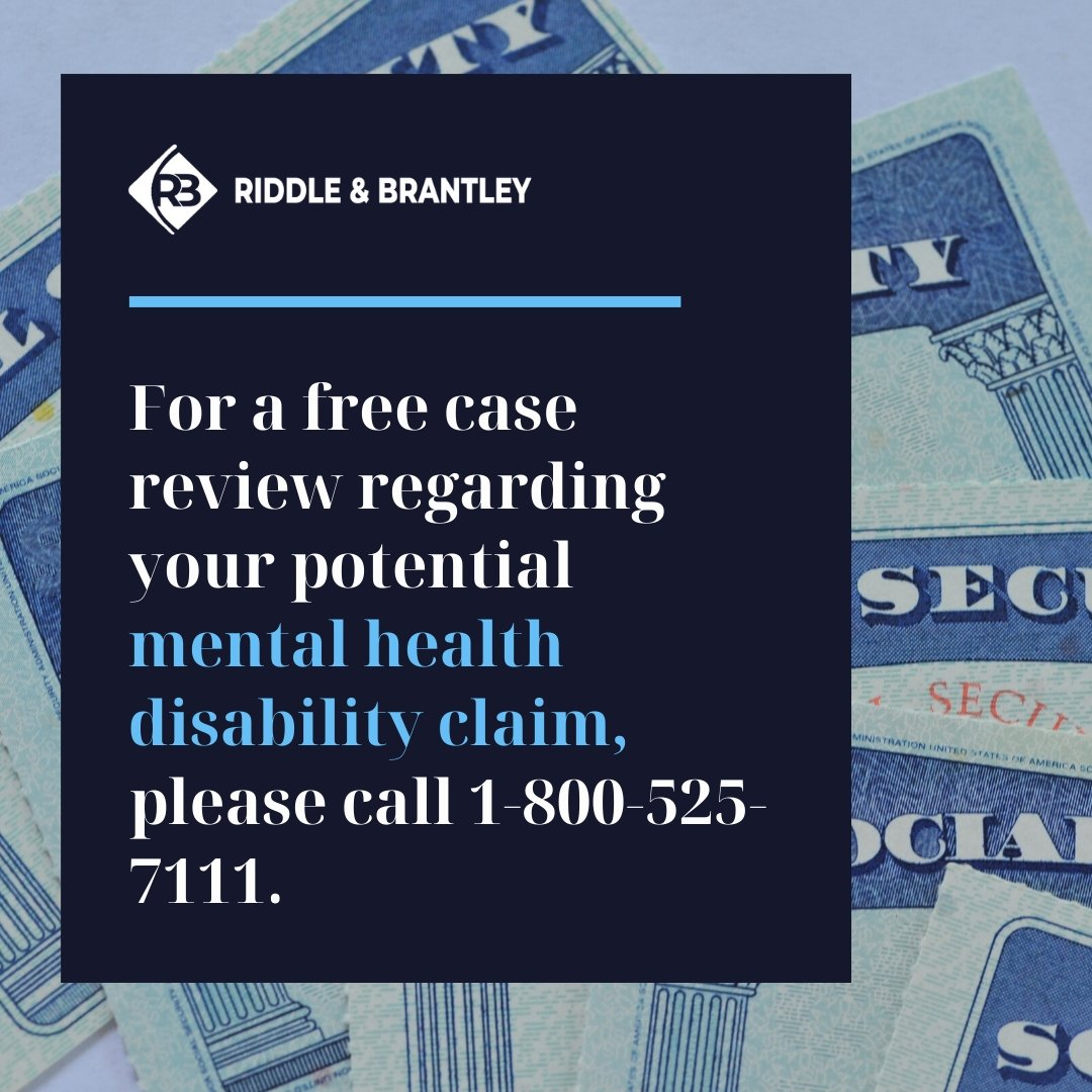 Mental Health Disability Claim - NC Disability Lawyer - Riddle & Brantley