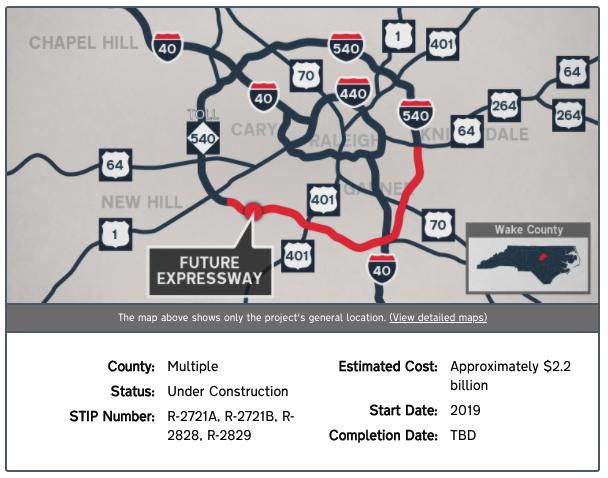 US-540 Southeast Extension Project Around Raleigh NC