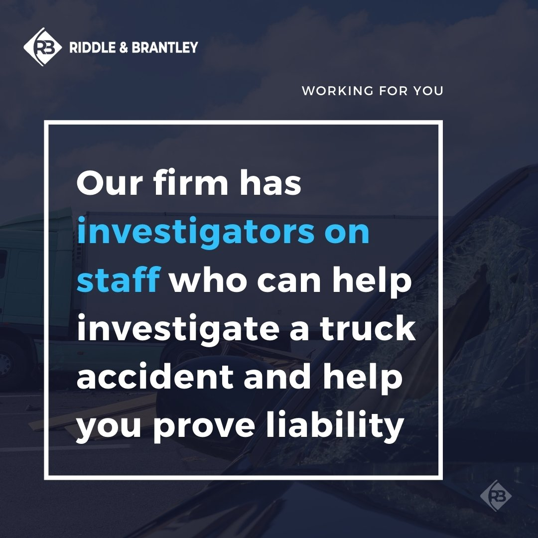 Truck Accident Investigators at Riddle & Brantley - Truck Accident Lawyers in NC